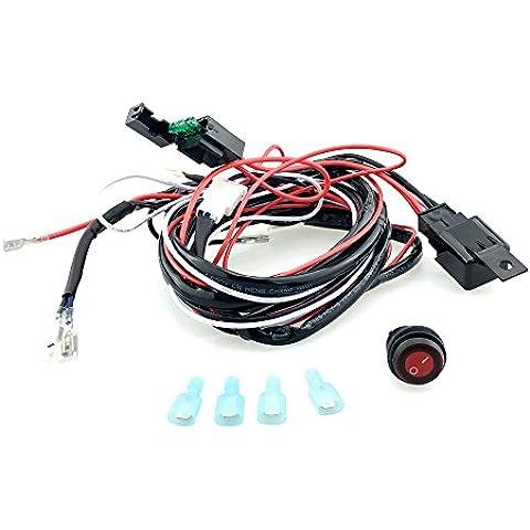 12v 40a Arnés de Cableado Kit Telar Interruptor de Relé Fusible para 2 LED Luz de Niebla de