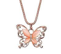 Collana - Colore Oro - Farfalla - Grande - Lunga - Bronzo - Perlata - Brillantini - Punti luce - Donna- Ragazze - Idea regalo feste - San Valentino - Gioielli