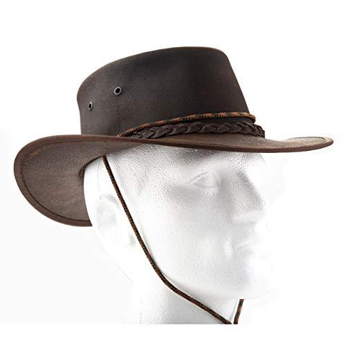 Tracker Bushman Lederhut Hut Herren | Cowboy Hut I Outdoor Hut Leder wasserdicht I Safari Hut I Lederhut I Safari/Outdoor/Australien/Outback I handgefertigt I Wachs -
