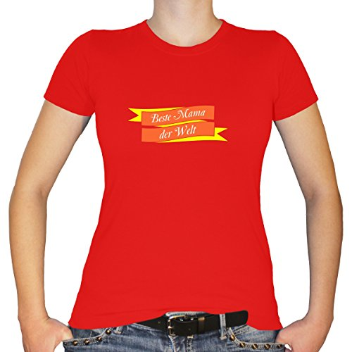 (Shirtfun24 Damen Muttertag Beste Mama der Welt Banner Fun T-Shirt, Rot, S)