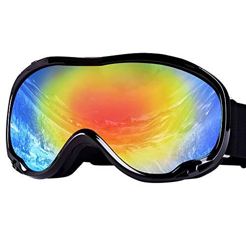 JTENG Skibrille, Ski Snowboard Brille UV-Schutz Skibrille Brillenträger Schneebrille Snowboardbrille Verspiegelt Motorradbrillen Für Damen Herren Mädchen Jungen (Schwarz Stil: Doppelter Anti-Fog)
