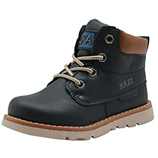 SHIBBshoes Apakowa Baby Boys Leather Chukka Boots Kids' Agio High-Top Venture Classical Boots Navy, Size : 23 EU
