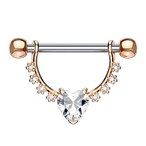 beyoutifulthings Brustwarzen-piercing GROSSES HERZ Intim-piercing Brust-piercing EDELSTAHL Roségold Clear Stab 1,6mm 12mm