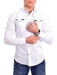 D&R Fashion Men's Slim Fit Shirt with Stylish Zip Pockets