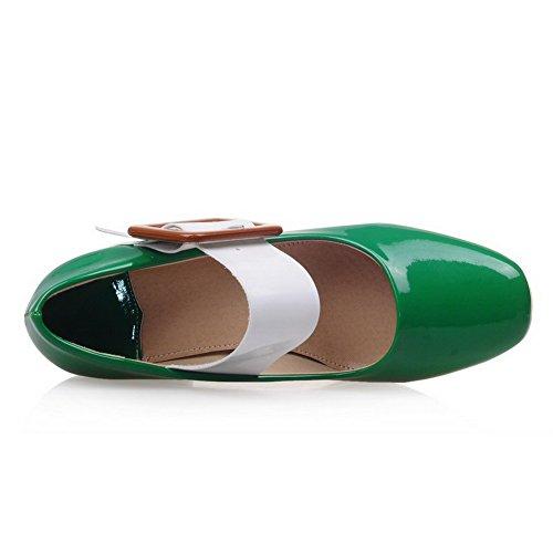 AllhqFashion Damen Pu Quadratisch Zehe Mittler Absatz Gemischte Farbe Pumps Schuhe Grün