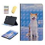 UUcovers Schutzhülle für Samsung Galaxy Tab E 8.0 SM-T375 /SM-T377, Multi-Winkel-Aufsteller, PU-Leder, TPU, magnetisch, mit Kartenhalter für Galaxy Tab E 8.0 T377/T375 Tablet Blau 07# Shiba Inu Dog