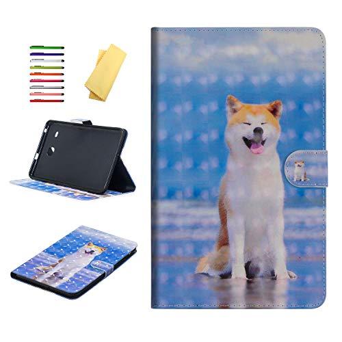 UUcovers Schutzhülle für Samsung Galaxy Tab E 8.0 SM-T375 /SM-T377, Multi-Winkel-Aufsteller, PU-Leder, TPU, magnetisch, mit Kartenhalter für Galaxy Tab E 8.0 T377/T375 Tablet Blau 07# Shiba Inu Dog (Lustige Cover-foto Halloween)