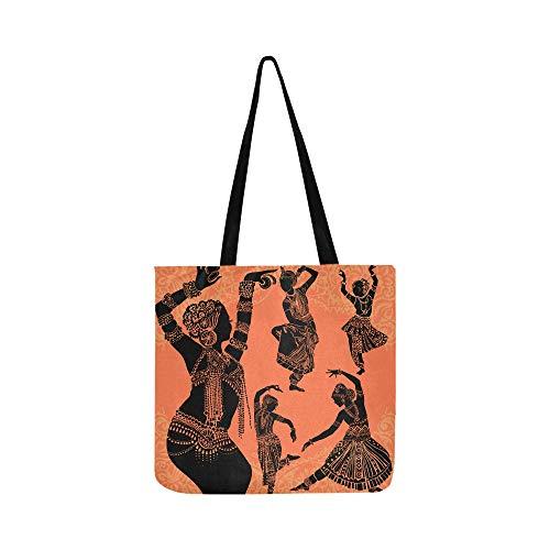 Schöne schwarze afrikanische Frau Leinwand Tote Handtasche Schultertasche Crossbody Taschen Geldbörsen für Männer und Frauen Einkaufstasche (Traditionelle Tanz Kostüm Von Indien)