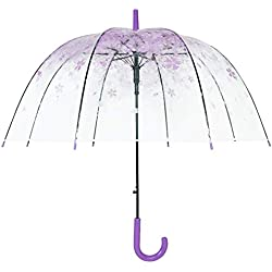 Cúpula De Paraguas, Transparente Paraguas Romántico Sakura Semi - Automático (Púrpura)