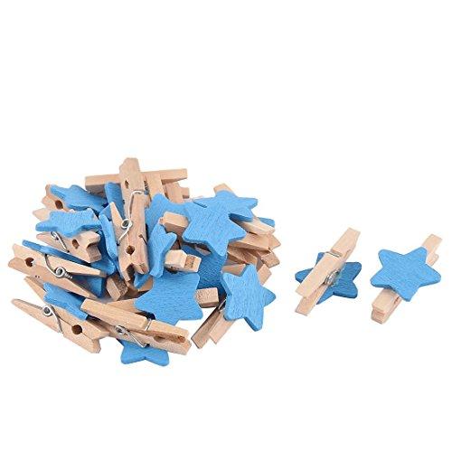 Mini Holz Wäscheklammern mit 18 mm Sterne Craft für Shabby Chic Hochzeit und Weihnachten, 30mm (Blau)