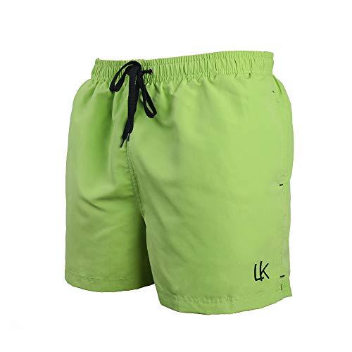 LK LEKUNI Bañador Hombre Pantalones de Playa con Forro con Cordón Traje de Baño Pantalón Ceñido_Verde_M...