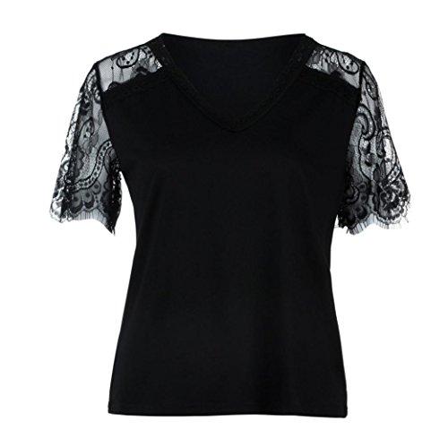 Blusen & Tuniken für Crop Tops Damen,Traumzimmer Vest Top Blouse Die Frauen Der Mode - Spitzen Auf Kurze äRmel Tiefe V - Sexy Bluse Tops Casual T - Shirt (Schwarz, XL)