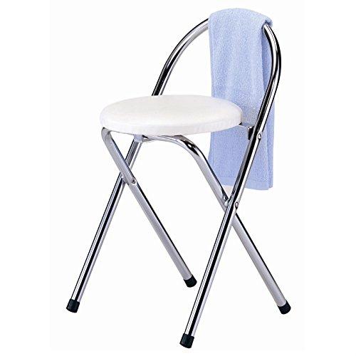 CARO-Möbel Badhocker Klapphocker Klappstuhl, weiß, verchromter Metallfuß, Sitzhöhe 46 cm