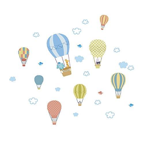 FeiyanfyQ, Wandaufkleber mit Heißluftballons, Wolken und Tieren, für Kinderzimmer, Kindergarten, PVC, blau, 100cm x 88cm