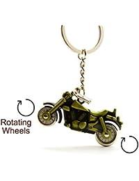 3D Avenger Cruiser, Royal Enfield Cruiser, Bullet Bike Shaped Full Metal Keychain For Car And Bike, With Rotating...