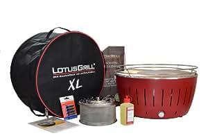 LotusGrill XL Rot inkl Tasche + 2,5 kg Holzkohle + Brennpaste 200ml
