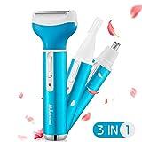 Kaiercat® 3 en 1 Maquinilla recargable para mujeres + Recortador de pelo de orejas y nariz + Recortador de cejas de acero inoxidable y resistente al agua con sistema de limpieza al vacío