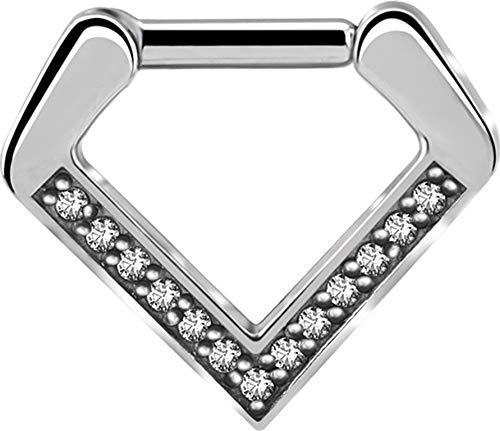 eeddoo® Septum-Ring CLICKER-Piercing aus Edelstahl mit Kristallbogen Diamant Design (6)