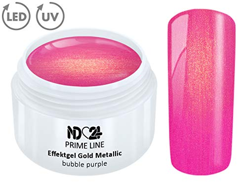 5ML - PRIME LINE - UV LED Gel GOLD METALLIC BUBBLE PURPLE Effekt French Color Nail Modellage Pink - MADE IN GERMANY