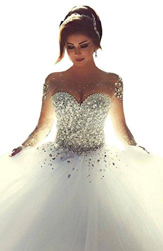 VIKEBRIDAL Damen Juwel Lange Ärmel Billig Ballkleid Hochzeitskleid Mit Kristall Elfenbein 44