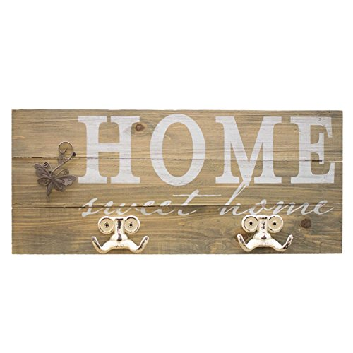 UMOI Vintage Wandgarderobe Home Shabby Chic Stil 100{b71d91fd208f797280e21abc857b905d5d1d3ac9ead7518ab621e97c7a864cea} massives Holz mit massiven Haken (Home Sweet Home II)