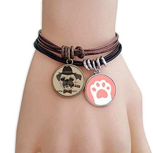 DIYthinker Damen British Style Gentle Rauch Hund und Katzen Zigarette Armband-Leder-Seil-Armband Paar Sets