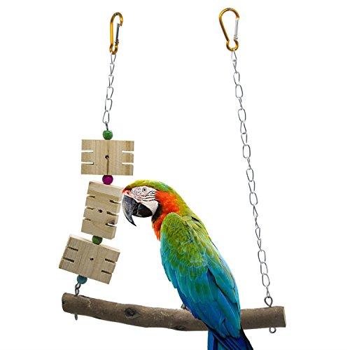 Parrot Bird Bar, ardilla mordedura de juguete perla de madera péndulo oscilación motosierra escalada escaleras giratoria masticación juguetes estaciones elevadas jaula de loro hamaca medianas pequeñas suministros para mascotas