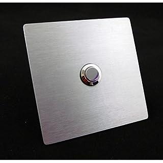 Eurosell V2A Design Edelstahl Klingelplatte Klingelschild Eckig abgerundet silber Klingel Knopf Taster Türklingel Klingelknopf