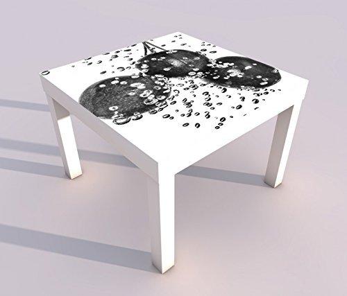 Design - Tisch mit UV Druck 55x55cm schwarz weiss Kirsche Kirschen Beere Obst Früchte Küche Spieltisch Lack Tische Bild Bilder Kinderzimmer Möbel 18A2208, Tisch 1:55x55cm -