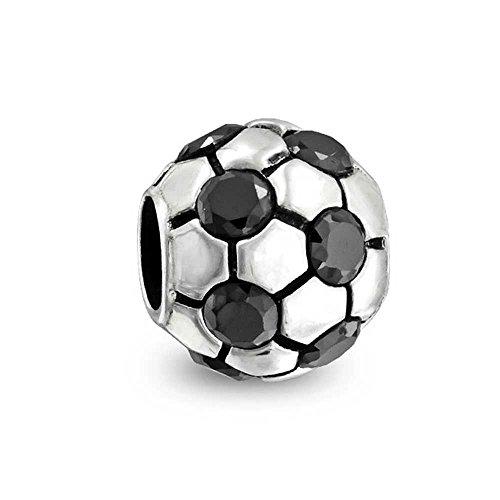 truecharms placcato argento nero cz Pallone da calcio Sports Charm per braccialetti Pandora Jewelry