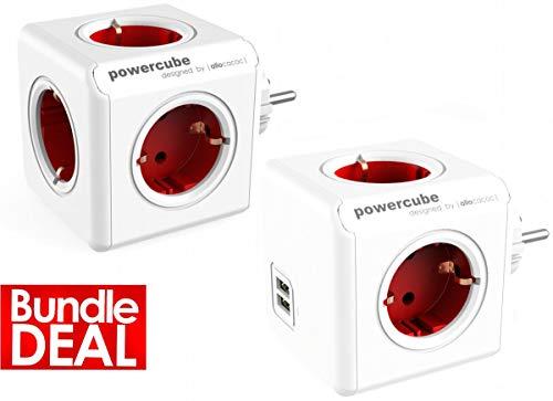 Power Cube 2-er Pack allocacoc Original Rot + PowerCube DuoUSB Rot (Power-pack Für Die Reise)