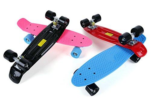 Ancheer Mini Cruiser Skateboard 55cm 22'' Planche à Roulettes Rétro Plastique - Couleur au Choix Plaque Rose et Roues Noires