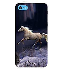 PrintVisa Running Midnight Grey Horse 3D Hard Polycarbonate Designer Back Case Cover for Apple iPhone 5c