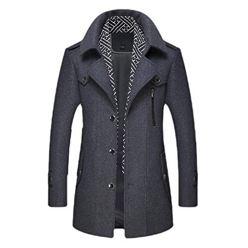 Energy Mens Skinny Mid-LongJacket Button Down Wool Blend Trench Coat Dark Grey 2XL
