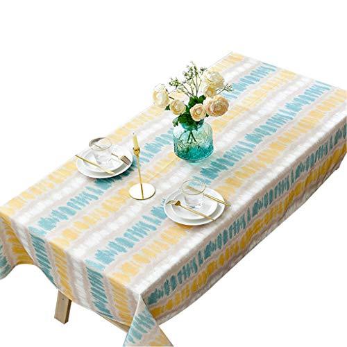 """Calyvina Streifen Tischdecken Baumwolle Leinen Tischdecke Home Rechteck Tischabdeckung für Küche Party Picknick Urlaub Dekoration (Blau, 51 W X 94 L Zoll),55""""×55""""(140×140cm)"""