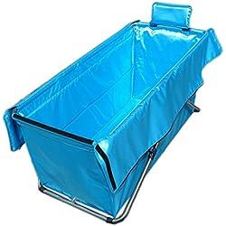 Peaceip Bañera Plegable Adulto para el hogar Engrosamiento Outsized Plegable portátil Aislamiento de la bañera Durable Fácil de Limpiar 105 * 56cm (Color : Azul)