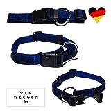 VAN WEEGEN Field & Sport | Hunde-Halsband | für große Hunde | Nylon | verstellbar (XL/25mm, Blau)