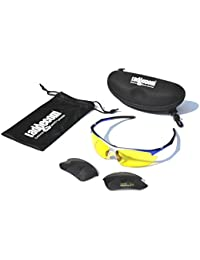 Ladgecom Sports Sunglasses with Smoke Lenses and Spare Yellow Lens with Case and Cloth