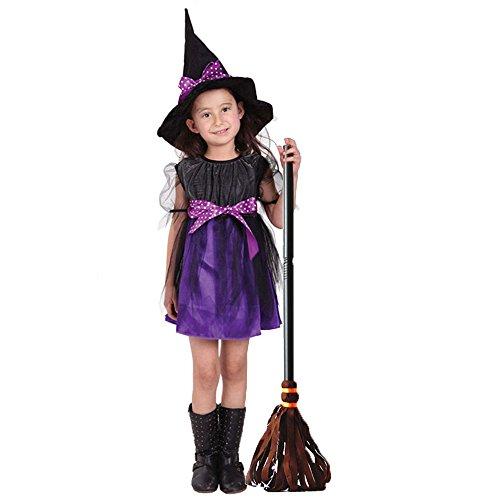 Halloween Hexe Kostüm - Hanmun HC120580 2017 Die beliebtesten Kinder Mädchen Hexe Party Kostüm mit 1 Kleid, 1 Hut. (120)