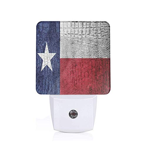 Texas State Flag Painted On Luxury Crocodile Snake Skin Texture Looking Patriotic Emblem Plug-in LED Night Light Lamp with Dusk to Dawn Sensor, Night Home Decor Bed Lamp (Painted Skin 2)