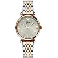 ZZ Reloj de Cuarzo de Oro Rosa Simple Atmosférico Simple Cinturón de Acero de la Mujer,Gris Clásico