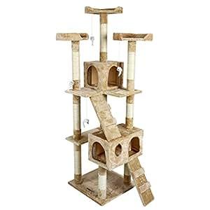 Leopet - Arbre à chat griffoir grattoir - Beige - hauteur 1,75 m - DIVERS COLORIS AU CHOIX
