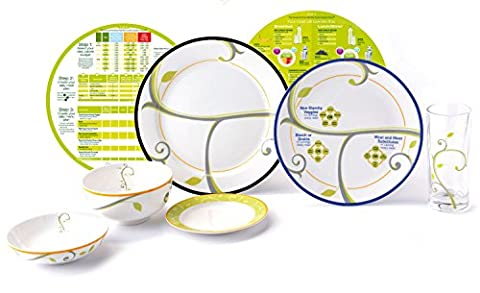 "High Quality Portion Control Kit From Precise Portions - Complete Porcelain Premium Starter Set - Beautifully Decorated - 9"" Focus Coupe Plate - 10"" Life-Style Rim Plate (No Writing) - 18 oz Bowl - 6"" Side Plate - 8 oz Snack Bowl - Drinking Glass - Eat & Learn Nutrition Discs - Quick Start Guide To Healthy Eating - USDA Nutritional Guidelines Design - The Best Tool For Weight Loss And Enhanced Living - Improve Your Lifestyle And Become Who You Want To Be"