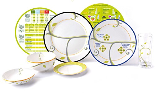 """High Quality Portion Control Kit From Precise Portions - Complete Porcelain Premium Starter Set - Beautifully Decorated - 9"""" Focus Coupe Plate - 10"""" Life-Style Rim Plate (No Writing) - 18 oz Bowl - 6"""" Side Plate - 8 oz Snack Bowl - Drinking Glass - Eat & Learn Nutrition Discs - Quick Start Guide To Healthy Eating - USDA Nutritional Guidelines Design - The Best Tool For Weight Loss And Enhanced Living - Improve Your Lifestyle And Become Who You Want To Be Now!"""