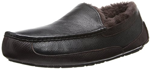 UGG Australia Men's Leather Ascot Slipper (Black/China Tea,12B) Black/China Tea