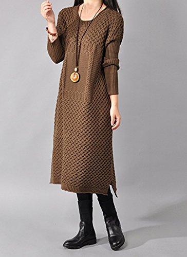 medeshe femmes Pull en tricot torsadé à manches longues Vintage Courroie Slouchy Pull pour homme Café