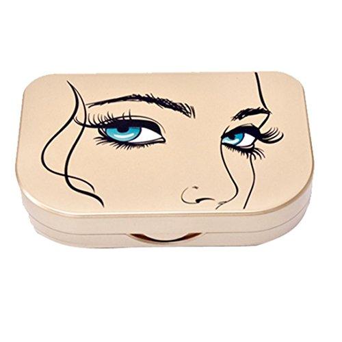 Faux Cils Boîte de rangement Acrylique Mignon Arc Miroir cosmétique de maquillage Organisateur de cas, B