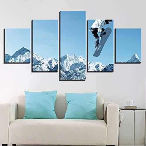 adgkitb canvas Drucke Kunstdekor Leinwand Malerei Moderne Kunst Skateboard Sport Wandmalerei Home Gym Fünf Stücke Ölgemälde Poster -