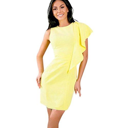 Kleid Damen,Binggong Frauen Sleeveless Trägerloses Festes Patchwork Hüllen Dame Minikleid Ärmelloses Schulterkleid Kurzes Strandkleid (XL, Gelb) -
