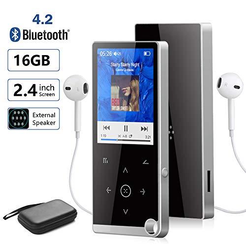 Lettore MP3 Bluetooth 16GB MP3 Player USB Portatile con Radio FM/E-Book/Registratore Vocale per Auto Sport Running,Schermo TFT da 2,4,Supporto Espandibile Max Fino a 128GB